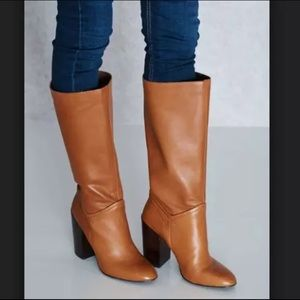 like new Aldo cognac heeled leather boots. Size 6